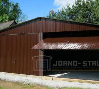 Brązowy garaż blaszany dwustanowiskowy